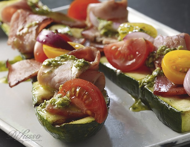 Grilled Zucchini with Double Smoked Black Pepper Ham