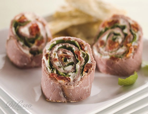 Roast Beef and Sun-Dried Tomato Rollups