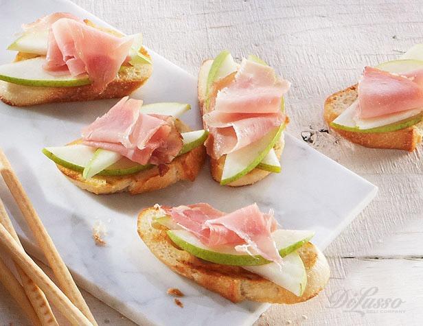 Prosciutto-Pear Crostini