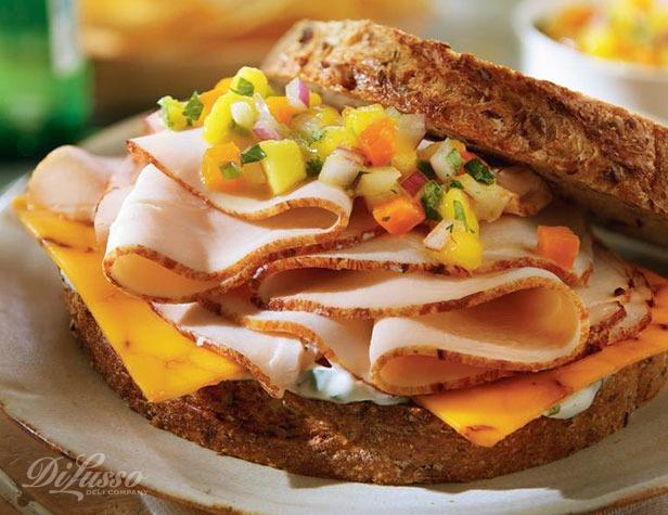 Chipotle Cheddar Turkey Sandwich With Mango Salsa