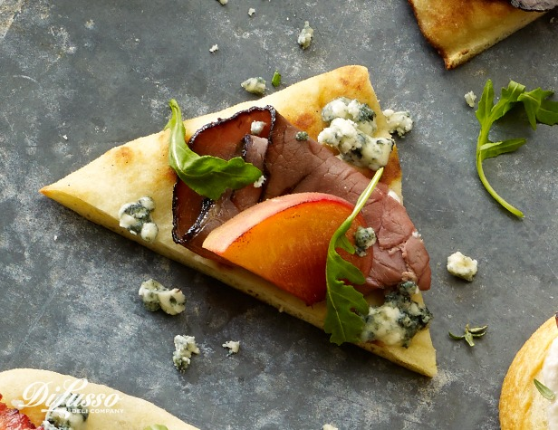 Peaches and Roast Beef Flatbread