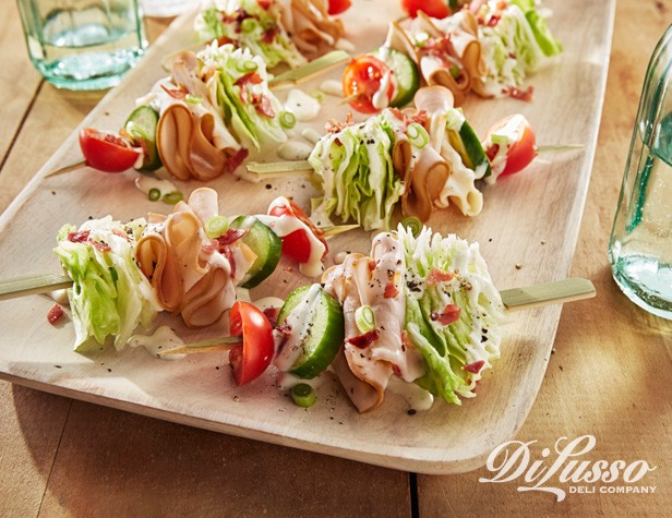 Smoked Chicken Wedge Salad Skewers