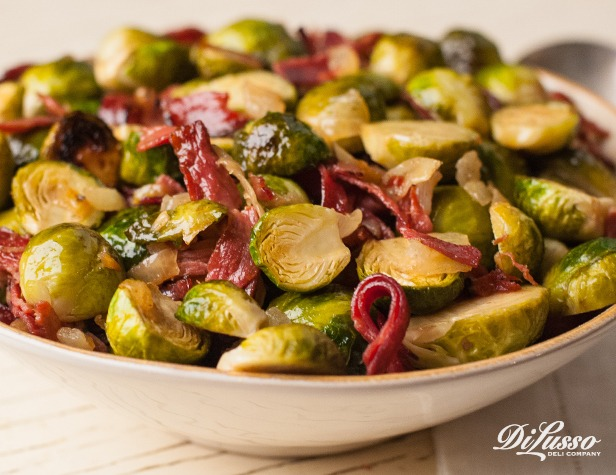 Balsamic Brussels Sprouts with Pastrami