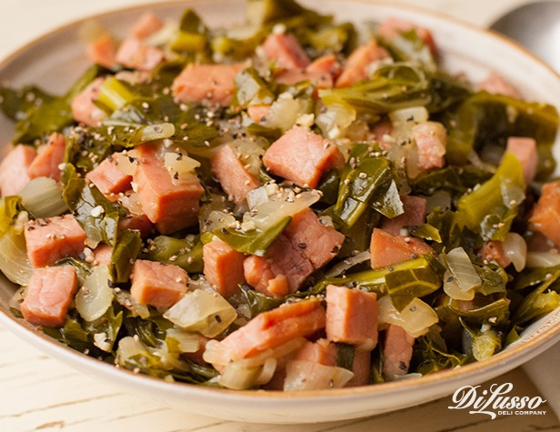 Slow Cooker Collard Greens with Smoked Ham