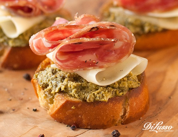 Baked Pesto Crostini
