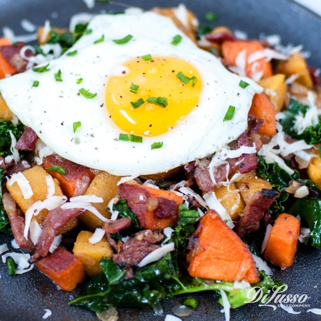Squash & Pastrami Breakfast Hash