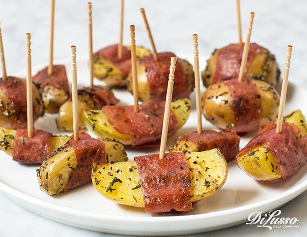 Salami-Wrapped Baby Potatoes