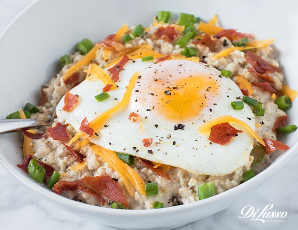 Crispy Prosciutto, Cheddar & Fried Egg Oatmeal