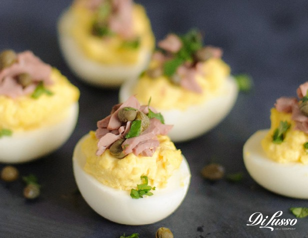 Spicy Roast Beef & Herb Deviled Eggs