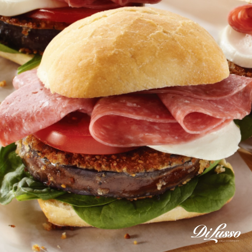 Summer Produce Genoa Salami Fried Eggplant Sandwich