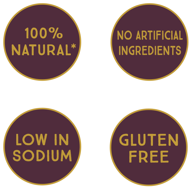 100% natural, No artificial ingredients, Low in sodium, Gluten free