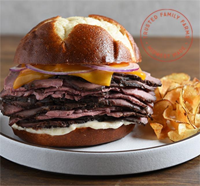 Pretzel Bun Roast Beef