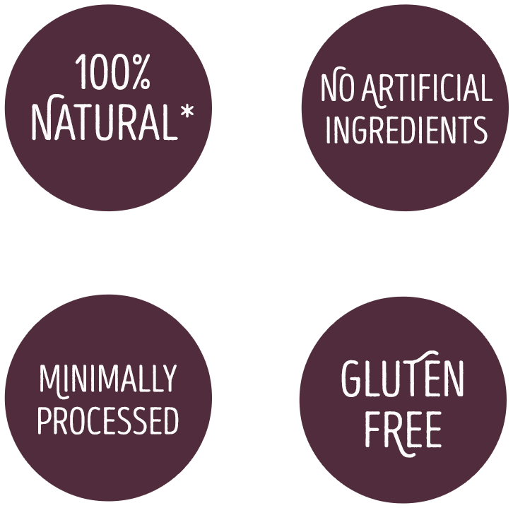 100% natural, No artificial ingredients, Minimally processed, Gluten free